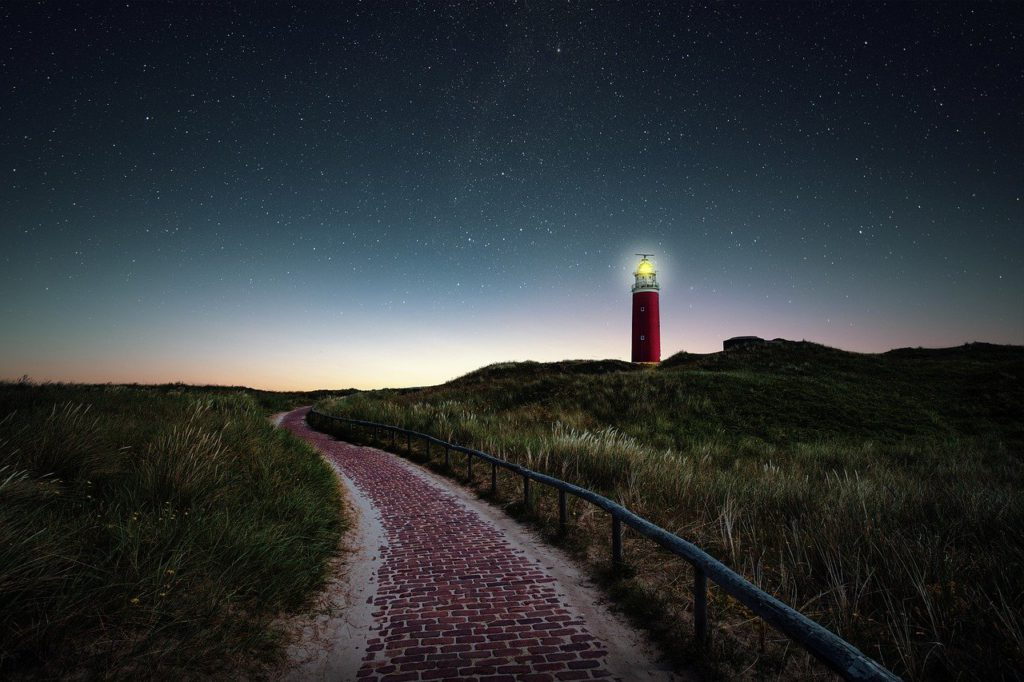 lighthouse, field, night