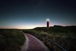 lighthouse, field, night