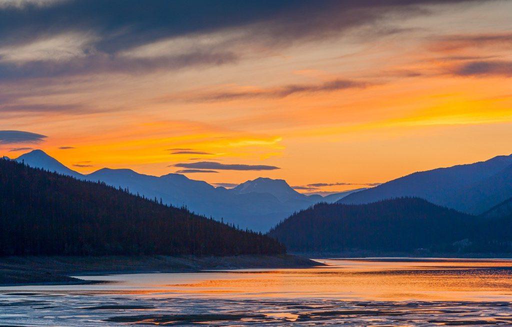 sunset, mountains, lake