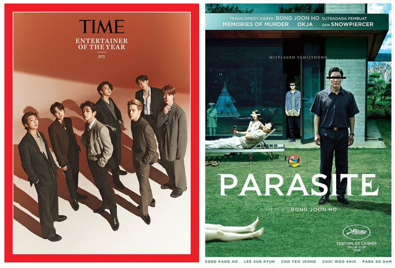 세계를 휩쓴 한국 아이돌 그룹 'BTS(좌)'와 영화 '기생충(우)'